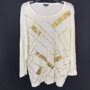 New Vince Camuto Ivory Gold Sweater